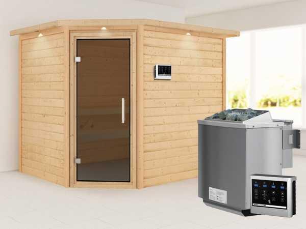 Sauna Lisa mit graphitfarbener Glastür und Dachkranz + 9 kW Bio-Kombiofen mit ext. Strg.