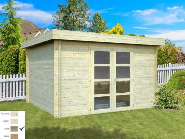 "Gartenhaus Blockbohlenhaus ""Elsa"" 9,6 m² 28 mm grau tauchimprägniert"