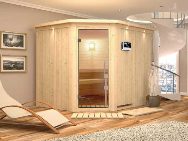 Sauna Systemsauna Malin mit Dachkranz, Klarglas Ganzglastür + 9 kW Bio-Kombiofen mit ext. Strg