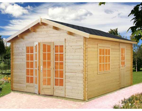 Gartenhaus Blockbohlenhaus Irene 23,9 m² 44 mm naturbelassen