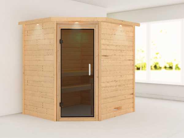 Sauna Massivholzsauna Mia mit Dachkranz, graphit Ganzglastür