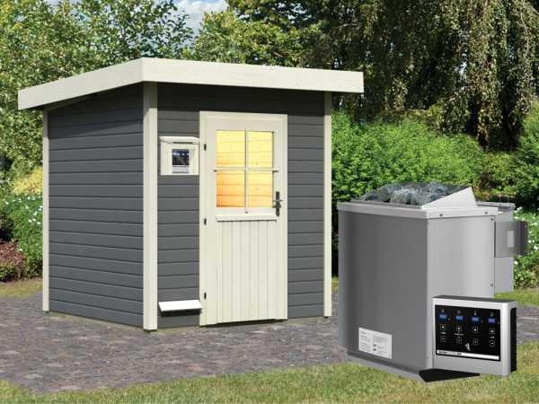Saunahaus Taina Grau mit Holztür, inkl. 9 kW Bio-Kombiofen mit externer Steuerung