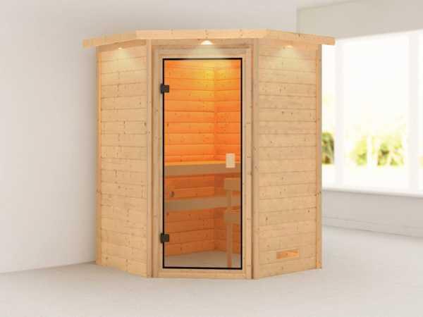 """Sauna """"Antonia"""" mit bronzierter Glastür und Dachkranz"""