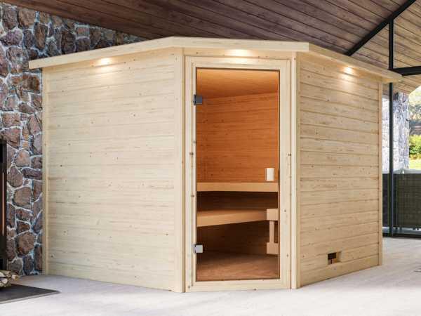 """Sauna """"Dalia"""" mit bronzierter Glastür und Dachkranz"""