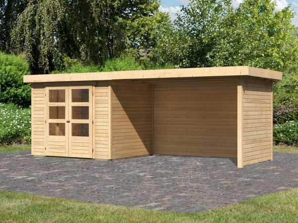 Gartenhaus SET Askola 3 19 mm naturbelassen, inkl. 2,8 m Anbaudach + Seiten- und Rückwand