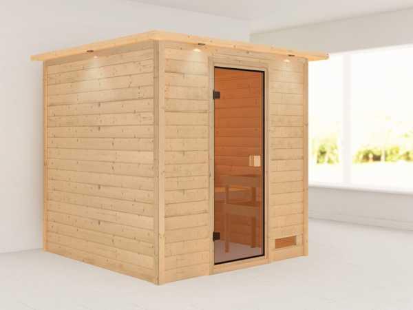 Sauna Jara mit bronzierter Glastür und Dachkranz