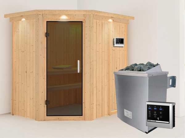 """Systemsauna """"Carin"""" mit Dachkranz, graphit Ganzglastür, inkl. 9 kW Saunaofen ext. Steuerung"""
