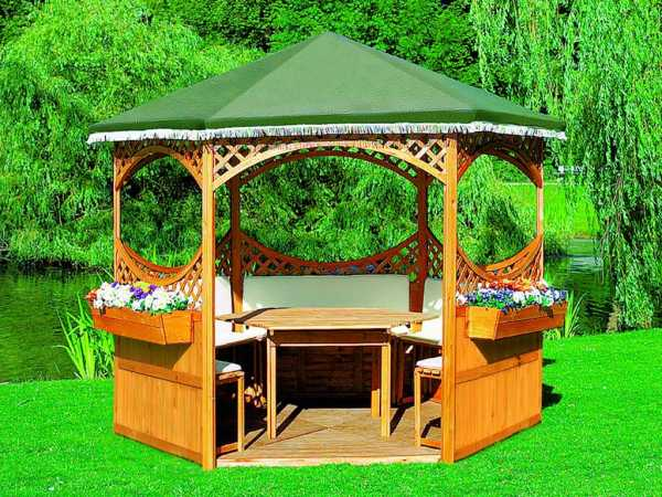 Pavillon Palma mit grünem Foliendach, Komplettset