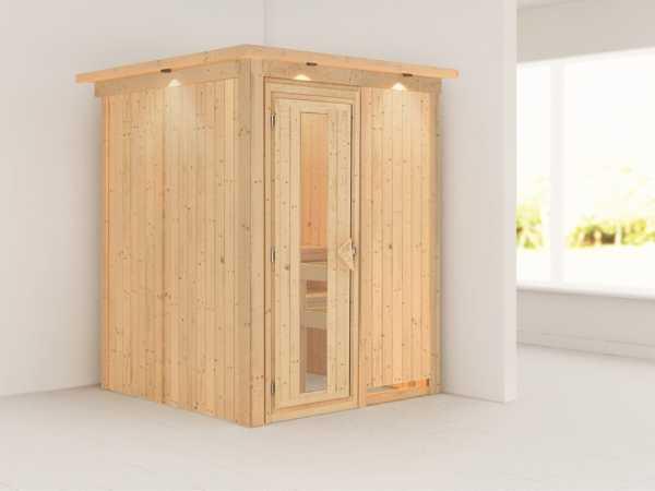 Sauna Systemsauna Minja mit Dachkranz, Energiespartür