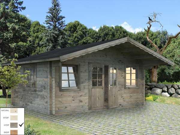 Gartenhaus Blockbohlenhaus Helena 18,6 m² 70 mm grau tauchimprägniert