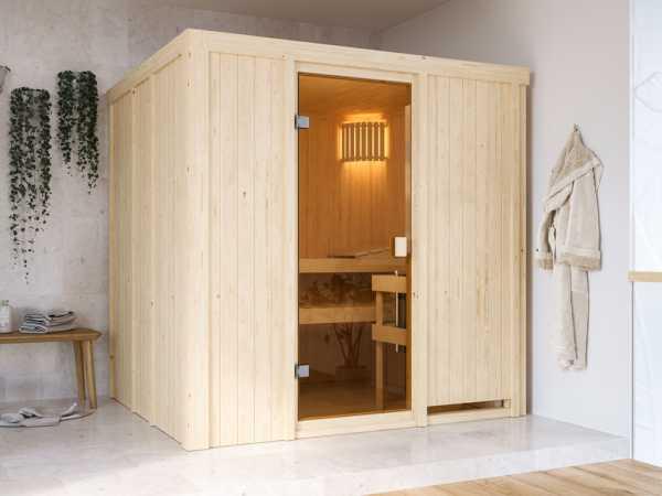 "Sauna ""Tromsö"" mit bronzierter Glastür"