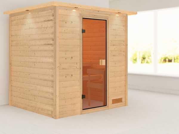 Sauna Adelina mit bronzierter Glastür und Dachkranz