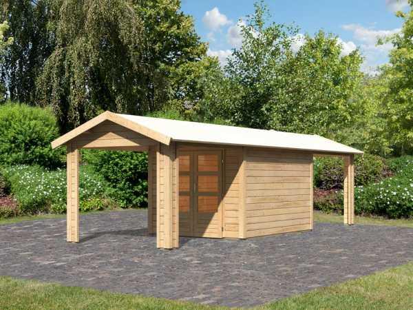 Gartenhaus SET Tastrup 4 28 mm naturbelassen inkl. 2 Dachausbauelemente