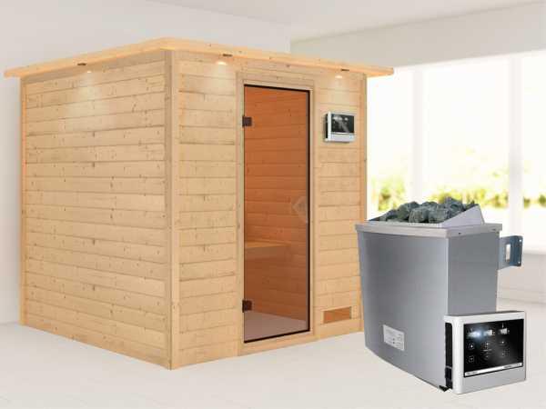 """Sauna Massivholzsauna """"Nora"""" mit Dachkranz, bronzierte Ganzglastür + 9 kW Saunaofen mit ext. Strg"""