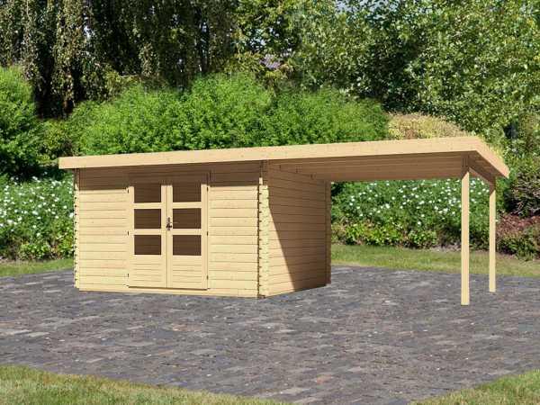 Gartenhaus Blockbohlenhaus SET Bastrup 7 28 mm naturbelassen, inkl. 3 m Anbaudach