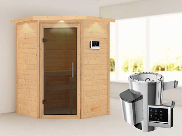 Sauna Massivholzsauna Alicja mit Dachkranz, graphit Ganzglastür + Plug & Play Ofen mit ext. Strg