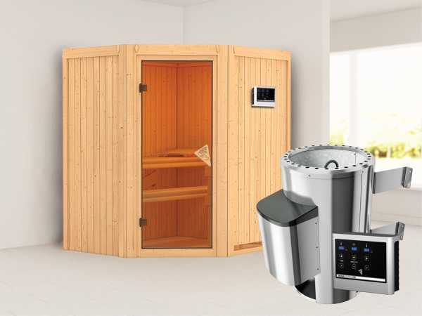 Sauna Systemsauna Tonja inkl. Plug & Play Saunaofen externe Steuerung
