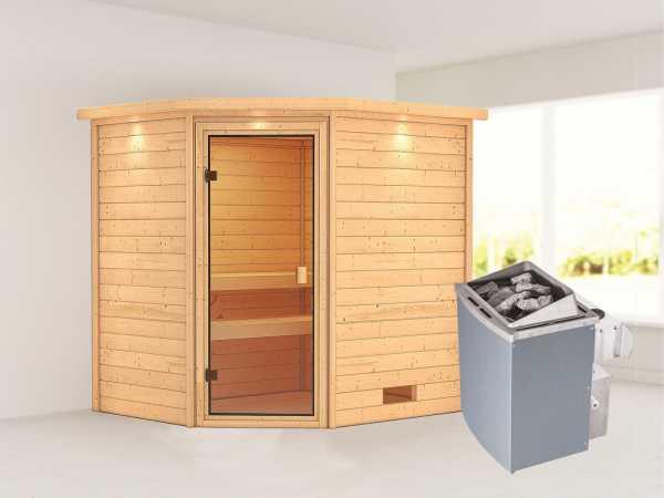 Sauna Elea mit bronzierter Glastür und Dachkranz + 9 kW Saunaofen integr. Strg.