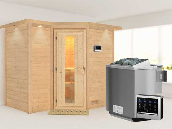 """Massivholzsauna """"Sahib 2"""" mit Dachkranz, Holztür mit Isolierglas, inkl. 9 kW Bio-Ofen ext. Steuerung"""
