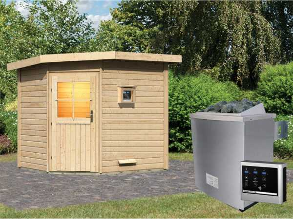 Saunahaus Mayla mit Holztür, inkl. 9 kW Saunaofen mit externer Steuerung