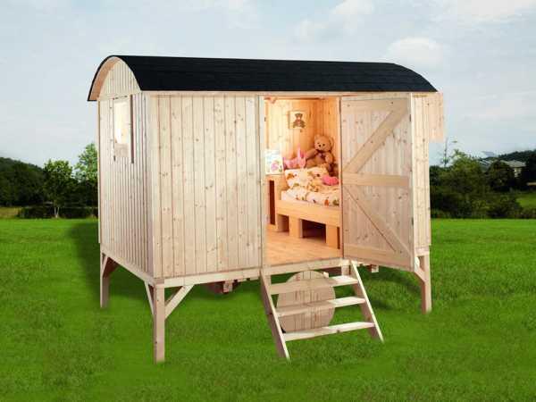 Spielhaus Camping Bauwagen 19 mm naturbelassen
