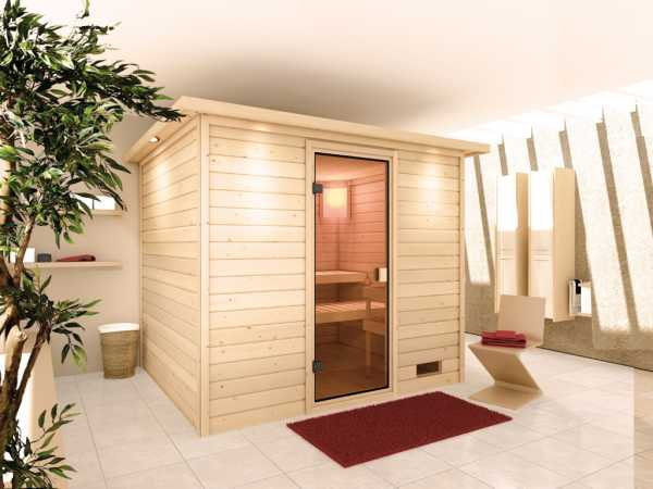 Sauna Massivholzsauna Karla mit Dachkranz, bronzierte Ganzglastür