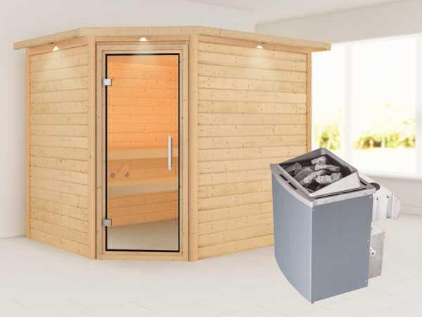 Sauna Lisa mit Klarglastür und Dachkranz + 9 kW Saunaofen integr. Strg.
