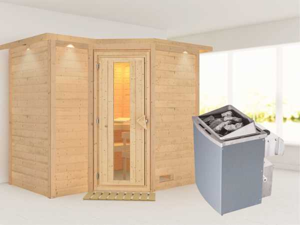 """Massivholzsauna """"Sahib 2"""" mit Dachkranz, Holztür mit Isolierglas, inkl. 9 kW Ofen integr. Steuerung"""