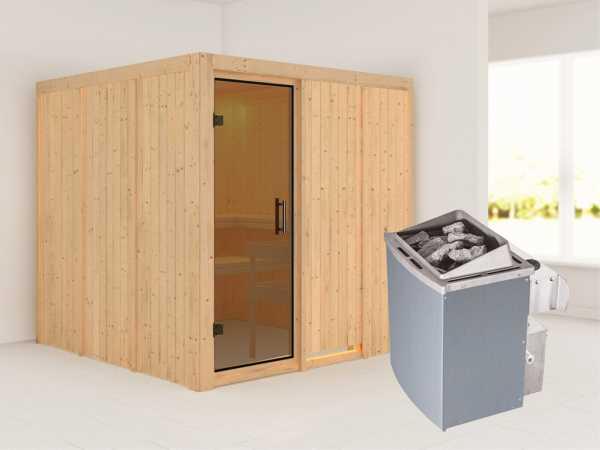Systemsauna Rodin graphit Ganzglastür, inkl. 9 kW Saunaofen integr. Steuerung