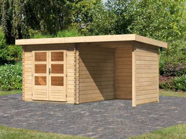 Gartenhaus Blockbohlenhaus SET Bastrup 4 28 mm naturbelassen, inkl. 2 m Anbaudach + Seiten-/Rückwand
