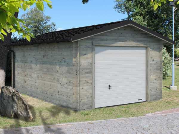 "Garage ""Tomas"" 19,2 m² mit Sektionaltor 34 mm grau tauchimprägniert"