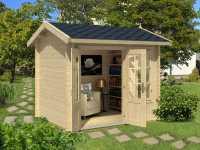 Gartenhaus Blockbohlenhaus Alex Mini 44 mm naturbelassen