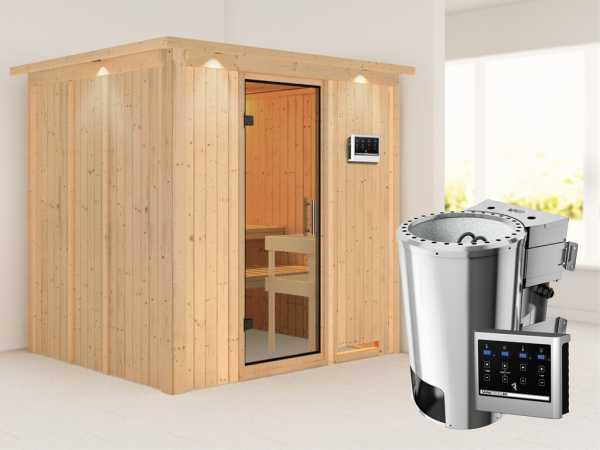 Sauna Systemsauna Daria mit Dachkranz, Klarglas Ganzglastür + Plug & Play Bio-Ofen mit ext. Strg