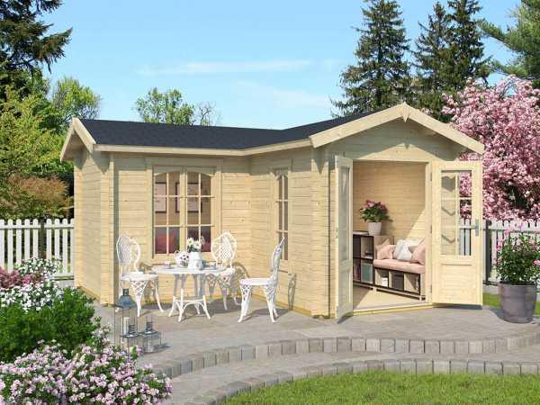 Gartenhaus Blockbohlenhaus Portsmouth 44 44 mm naturbelassen