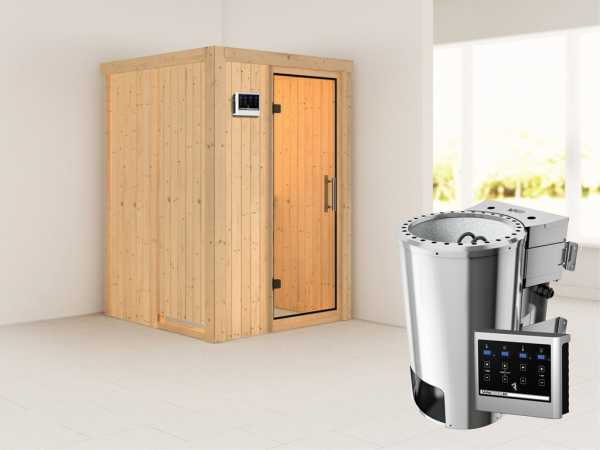 Sauna Systemsauna Lenja Klarglas Ganzglastür + Plug & Play Bio-Ofen mit externer Steuerung