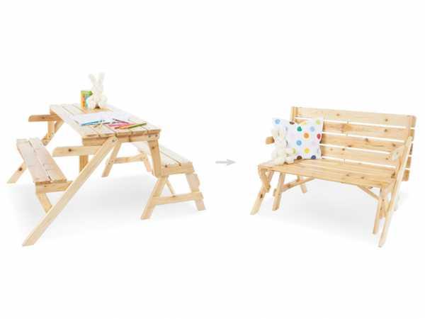Kindersitzgarnitur 2in1 / Gartenbank Elli Naturbelassen