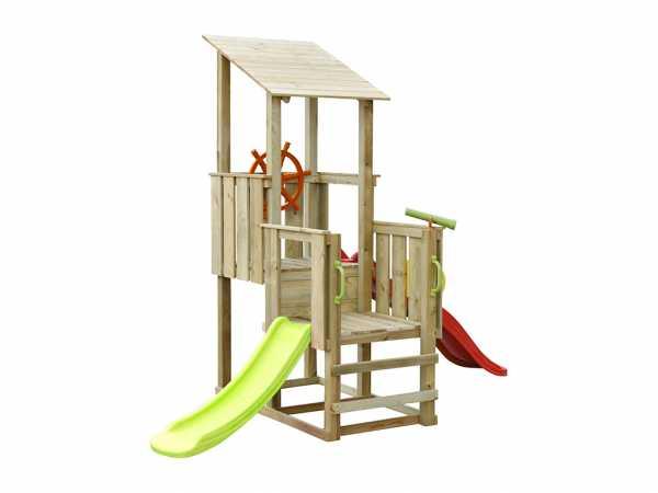 Spielturm SPARSET Playcenter Pirate KDI inkl. 2 Rutschen rot und grün + Zubehör