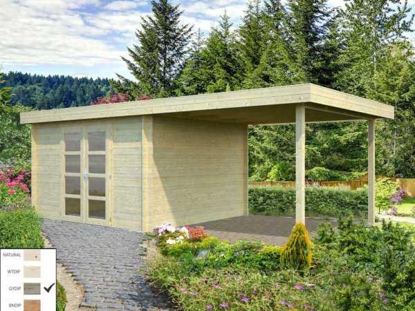 Gartenhaus Blockbohlenhaus Elsa 9,6+8,1 m² 28 mm grau tauchimprägniert