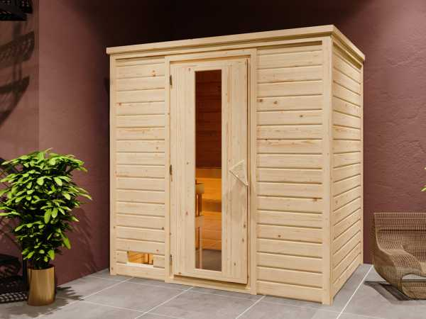 """Sauna Systemsauna """"Bergen 1"""" Holztür mit Isolierverglasung inkl. 9 kW Saunaofen mit ext. Steuerung"""