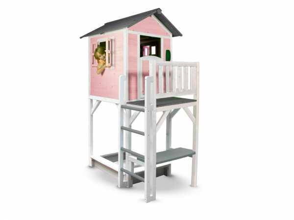 Kinderspielhaus Lodge XXL PLUS rosa/weiß, Massivholz