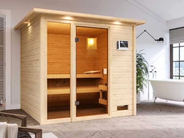 """Sauna """"Jutta"""" mit bronzierter Glastür und Dachkranz + 9 kW Bio-Kombiofen ext. Strg."""