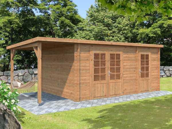 Gartenhaus Blockbohlenhaus Ella 13,1+3,9 m² 28 mm braun tauchimprägniert