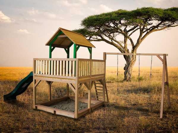 Spielturm Atka braun/grün mit grüner Rutsche und Doppelschaukel