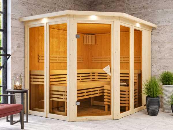 Sauna Ainur mit bronzierter Glastür und Dachkranz + 9 kW Saunaofen integr. Strg.
