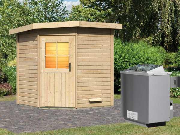 Saunahaus Pirva mit Holztür, inkl. 9 kW Saunaofen mit integrierter Steuerung