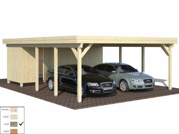 Geräteraum für Carport Karl 40,6 m² 19 mm grau tauchimprägniert