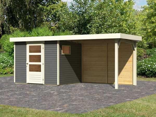 Gartenhaus SET Oburg 3 19 mm terragrau, inkl. 2,8 m Anbaudach + Rückwand