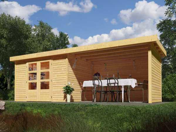 Gartenhaus SET Askola 5 19 mm naturbelassen, inkl. 2,8 m Anbaudach + Seiten- und Rückwand