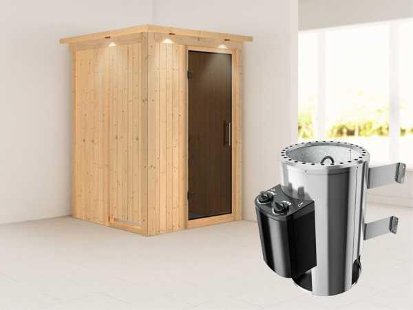 Sauna Systemsauna Lenja mit Dachkranz, graphit Ganzglastür + Plug & Play integrierte Steuerung