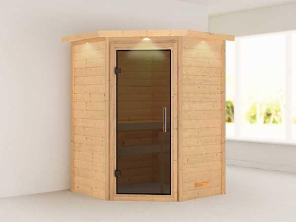 Sauna Massivholzsauna Alicja mit Dachkranz, graphit Ganzglastür
